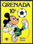 Sellos del Mundo : America : Granada : Grenada 1979 Scott 956 Sello ** Walt Disney Deportes Mickey Mouse Futbol 10c