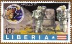 Sellos del Mundo : Africa : Liberia : Astronauta, Luna y Apollo