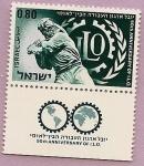 Sellos de Asia - Israel -  50 aniversario de I.L.O.  - Organización internacional del trabajo O.I.T.