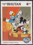 Sellos del Mundo : Asia : Bhután : Bhutan 1984 Scott 460 Sello ** Walt Disney Aniv. Donald Duck Mickey Mago 4Ch