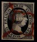 Sellos del Mundo : Europa : España : 6 cuartos Isabel II