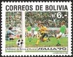 Sellos del Mundo : America : Bolivia : ADHESION DE BOLIVIA AL MUNDIAL - ITALIA 90