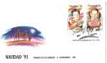 Sellos de America - Chile -  SOBRE PRIMER DIA DE EMISION - NAVIDAD 91