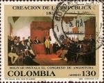 Sellos del Mundo : America : Colombia : Creación de la República 1819. Bolívar instala el Congreso de Angostura.