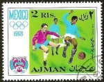 Sellos de Asia - Emiratos Árabes Unidos -  MEXICO 1968 - AJMAN - FUTBOL