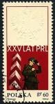 Sellos de Europa - Polonia -  Guardia de frontreras - 25 Anivº Rep. Popular - Aguila blanca en relieve