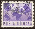 Sellos de Europa - Rumania -  Transp. y telecomu.-Instrumento de télex y mapa.