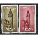 Sellos del Mundo : Europa : España :   Sahara Ayuda a Sevilla Edifil 215 y 216