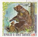 Sellos de Africa - Guinea Ecuatorial -  PROTECCION DE LA NATURALEZA -Oso pardo-Europa