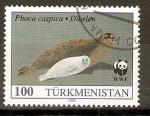 Sellos del Mundo : Asia : Turkmenistán : FOCA   MADRE   CON   SU   CRIA
