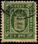Sellos del Mundo : Europa : Dinamarca : Timbre de servicio, escudo de Dinamarca 1875-1902 5 ores