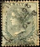 Sellos del Mundo : Europa : Malta : Reyna Victoria. Primer sello de Malta 1860.