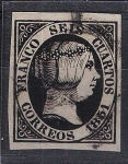 Sellos del Mundo : Europa : España : 6 . Isabel II seis cuartos negro.
