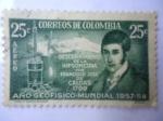 Sellos del Mundo : America : Colombia : Descubrimiento de la Hipsometría por Francisco José de Caldas 1799.Año Geofisico-Mundial 1957/58.