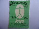 Sellos del Mundo : America : Colombia :  ICSS-Instituto Colombiano de Seguros Sociales - 20° Aniversario, 1949-1969 - Emblema.