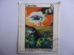 Sellos del Mundo : America : Colombia : AMANECER EN LOS ANDES - Oleo de Alejandro Obregón (1920-1992) Pintor, Escultor Colombo-Español.