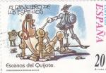 Sellos de Europa - España -  Escenas del Quijote-EL CABALLERO DE LOS ESPEJOS   (H)