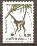 Sellos de America - Honduras -  MONO  ATELES  JÒVEN  COLGADO  DE  RAMA