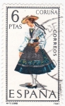 Sellos de Europa - España -  CORUÑA -Trajes típicos españoles (U)