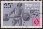 Sellos del Mundo : America : Granada : Granada Granadinas 1975 Scott 104 Sello ** Deportes Pan American Games Mexico Weightlifting 35c Gren