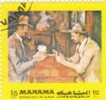 Sellos de Asia - Bahrein -  Jugadores de Cartas- pintura