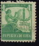 Sellos del Mundo : America : Cuba : Industria del Cigarro, Indio, cigarro, hoja de tabaco