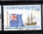 Sellos del Mundo : America : Santa_Lucía : Barcos: Bergantín de la Armada Real Britanica