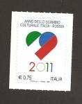 Sellos de Europa - Italia -  Año intercambio cultural Italia-Rusia