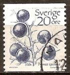 Sellos del Mundo : Europa : Suecia : Endrino (Prunus Spinosa).