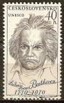 Sellos de Europa - Checoslovaquia -  Aniv de personalidades del mundo - UNESCO (Ludwig van Beethoven 1770-1970).