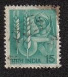 Sellos del Mundo : Asia : India : Farmer, retort & corn
