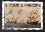 Sellos del Mundo : Africa : Santo_Tomé_y_Principe : PINTURA CARAVELA MERCANTE SIGLO XVI