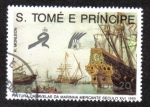 Sellos del Mundo : Africa : Santo_Tomé_y_Principe : Pintura Caravelas Da Marinha MercanteSeculo XVI