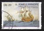 Sellos del Mundo : Africa : Santo_Tomé_y_Principe : PINTURA DE LA CARAVELA  DE LA MARINA MERCANTE DEL SIGLO XVI, R Monleon