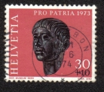 Sellos del Mundo : Europa : Suiza : Gallic head from Prilly (Roman Age)