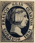 Sellos del Mundo : Europa : España : Scott#6 6 cuartos 1851