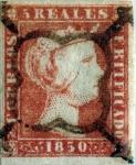 Sellos del Mundo : Europa : España : Scott#3 5 reales 1850