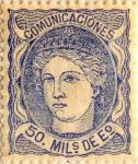 Sellos del Mundo : Europa : España : 50 milésimos de escudo 1870