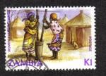 Sellos del Mundo : Africa : Zambia : Mujeres golpeando el maíz