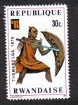 Sellos del Mundo : Africa : Rwanda : Guerrero con escudo y lanza