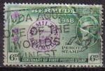 Sellos del Mundo : America : Islas_Virgenes : BERMUDA 1949 Michel 124 SELLO CENTENARIO 1º SELLO POSTAL THE PEROT STAMP
