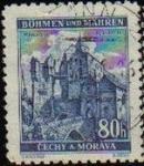 Sellos del Mundo : Europa : Checoslovaquia : CHECOSLOVAQUIA BOHEMIA Y MORAVIA 1940 SCOTT 41 Sello Castillo Pernstein Usado BOHMEN und MAHREN CECH