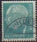 Sellos del Mundo : Europa : Alemania : ALEMANIA 1957 Scott 706 Sello Presidente Heinrich Lubke 7 Usado Michel181 Allemagne Duitsland German
