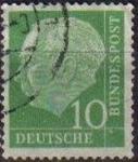 Sellos del Mundo : Europa : Alemania : ALEMANIA 1957 Scott 708 Sello Presidente Heinrich Lubke 10 Usado Michel 183 Allemagne Duitsland Germ
