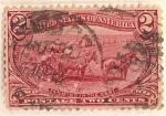 Sellos de America - Estados Unidos -  postage two cent / farming in the west (1898) / U.S.A.