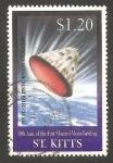 Sellos del Mundo : America : San_Cristobal : 920 - 30 anivº del primer hombre en la Luna, módulo del comandante entrando en la atmosfera terrestr