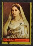 Sellos de Asia - Emiratos Árabes Unidos -  Ajman, Pinturas de retrato 1972 (II). Mujer con velo; por Raphael
