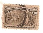 Sellos del Mundo : America : Estados_Unidos : United states of america / Columbus presenting natives