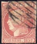 Sellos del Mundo : Europa : España : ESPAÑA 1852 12 Sello Isabel II 6c Usado