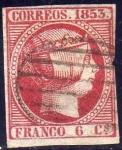 Sellos del Mundo : Europa : España : ESPAÑA 1853 17 Sello Isabel II 6c Usado